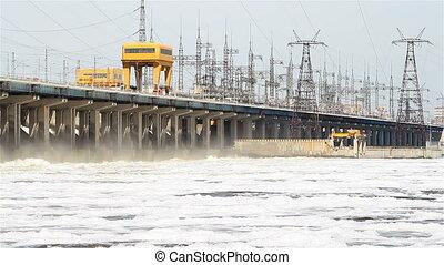 remise, puissance, hydroélectrique, eau, station, rivière