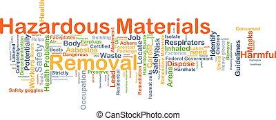 remoção, perigoso, conceito, fundo, materiais