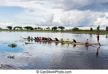 remo, macho, atletas, joven, barco