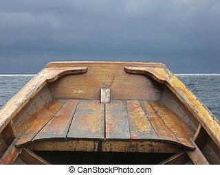 remo, viejo, barco, arco