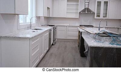 remodeler, maison, nouveau, amélioration, vue, cuisine, installed