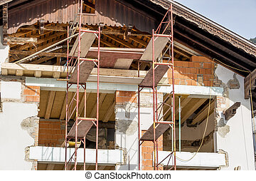 remodeling of a house - a residential house is being rebuilt...