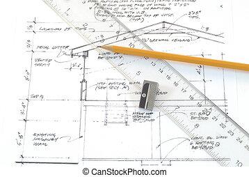 blueprint, design, drawings, pencil, ruler