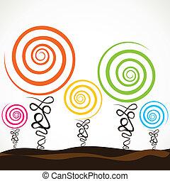 remolino, árbol, colorido