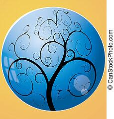remolino, árbol, en, el, esfera