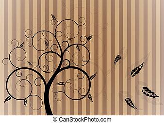remolino, árbol, en, otoño