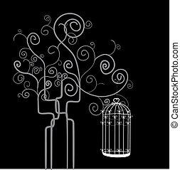 remolino, árbol, jaula, pájaro