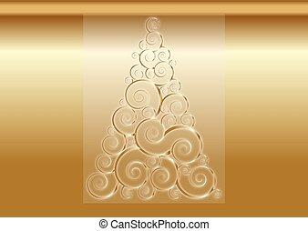 remolino, árbol, oro