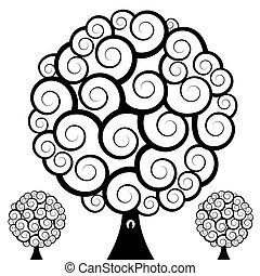 remolino, búho, árbol