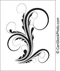 remolino, floral, forma