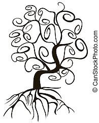 remolino, garabato, estilo, árbol