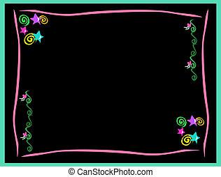remolinos, marco, neón, espirales, estrellas, corazones