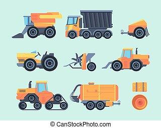 remolque, grano, cosechar, tractor, crops., trilladora, ...