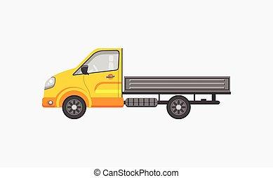 remolque, vista, lado, camión, luz