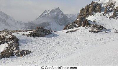 remonte-pente, neigeux, paysage, vue