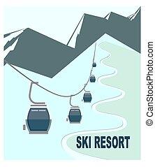 remonte-pente, sommets montagne, neige-couvert, recours
