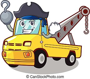 remorquage, isolé, dessin animé, corde, camion, pirate