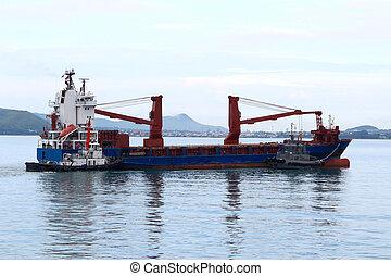 remorqueur, aider, cargaison, port, masse, quayside, bateau