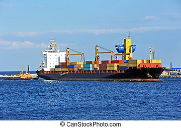 remorqueur, aider, navire porte-conteneurs, cargaison