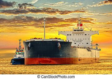 remorqueur, bateau, pétrolier