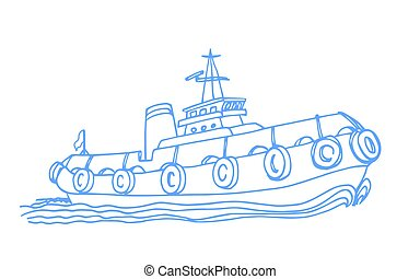 remorqueur, marin, sillage, port, vagues, dampers