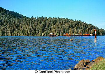 remorqueurs, flotter, deux, dock