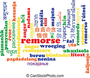 Remorse multilanguage wordcloud background concept