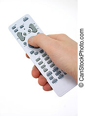 Remote 3 - Man's hand on a remote control.