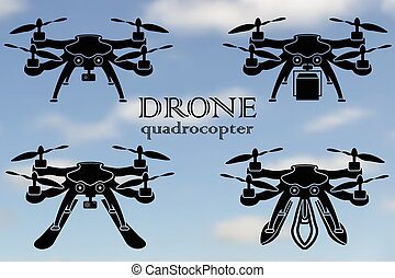 Remote aerial drone with a camera taking photography or...