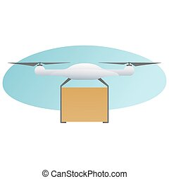 Remote air drone with a box flying in the sky. Modern delivery of the package by flying drone. Flat illustration of the express package delivery. White quadrocopter carrying carton box isolated on a white background.