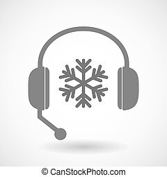Remote assistance headset icon with a snow flake -...