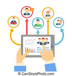 Remote business management concept with a businessman...