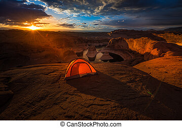 Remote Camping Lake Powell Reflection Canyon Utah USA