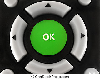 """Button """" ОК """" on a remote control the TV, photographed close up Button """" �� """" on a remote control the TV, photographed close up Button """" ОК """" on a remote control the TV, photographed close up"""
