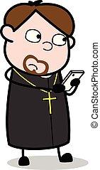 Remote Control - Cartoon Priest Religious Vector Illustration