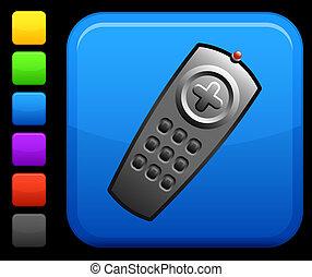 remote control icon on square internet button