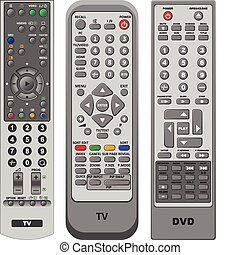 Illustration three different kinds of remote control in vector.