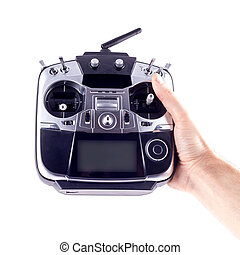 Remote control radio model in the hands of man on a white background.