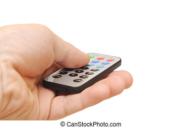 Remote control in hand on white