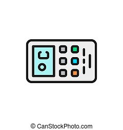 Remote control of air conditioner flat color line icon.