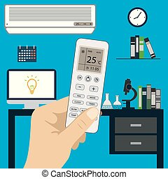 Remote control of air conditioner in hand and air...