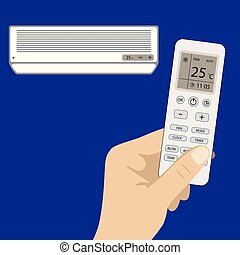 Remote control of air conditioner in hand and white air...
