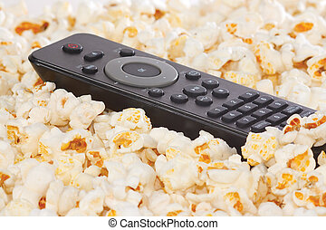 Remote control of player in popcorn closeup
