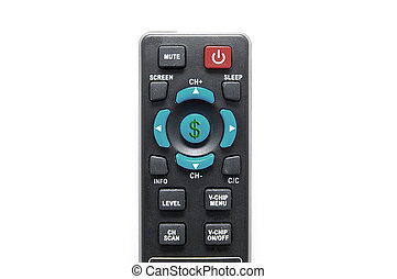remote control on white with dollar sign