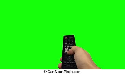 Remote control television changing one channel . Green...