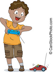 Remote-controlled Car Kid - Illustration of a Boy Playing...
