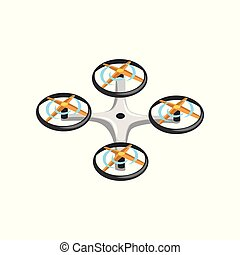 Remote controlled drone with four orange propellers and gray body. Flat vector icon of quadrocopter. Flying device. Unmanned aircraft