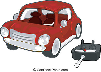 Remote Controlled Toy Car - Illustration of a Red Toy Car...