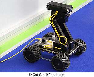 Remote controlled robot vehicle with camera and LED lights