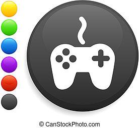 remote controller icon on round internet button original ...